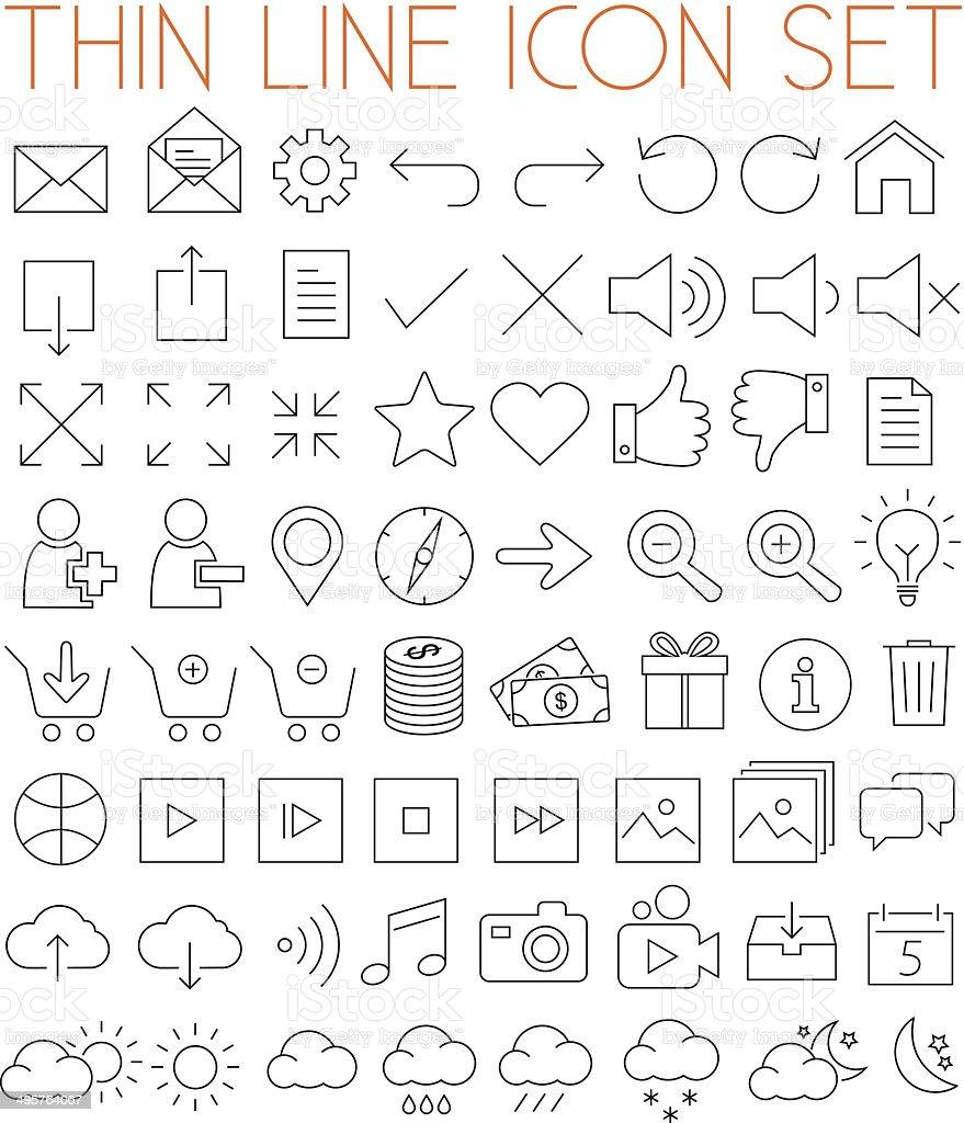 Thin Line Vector Icons vector art illustration