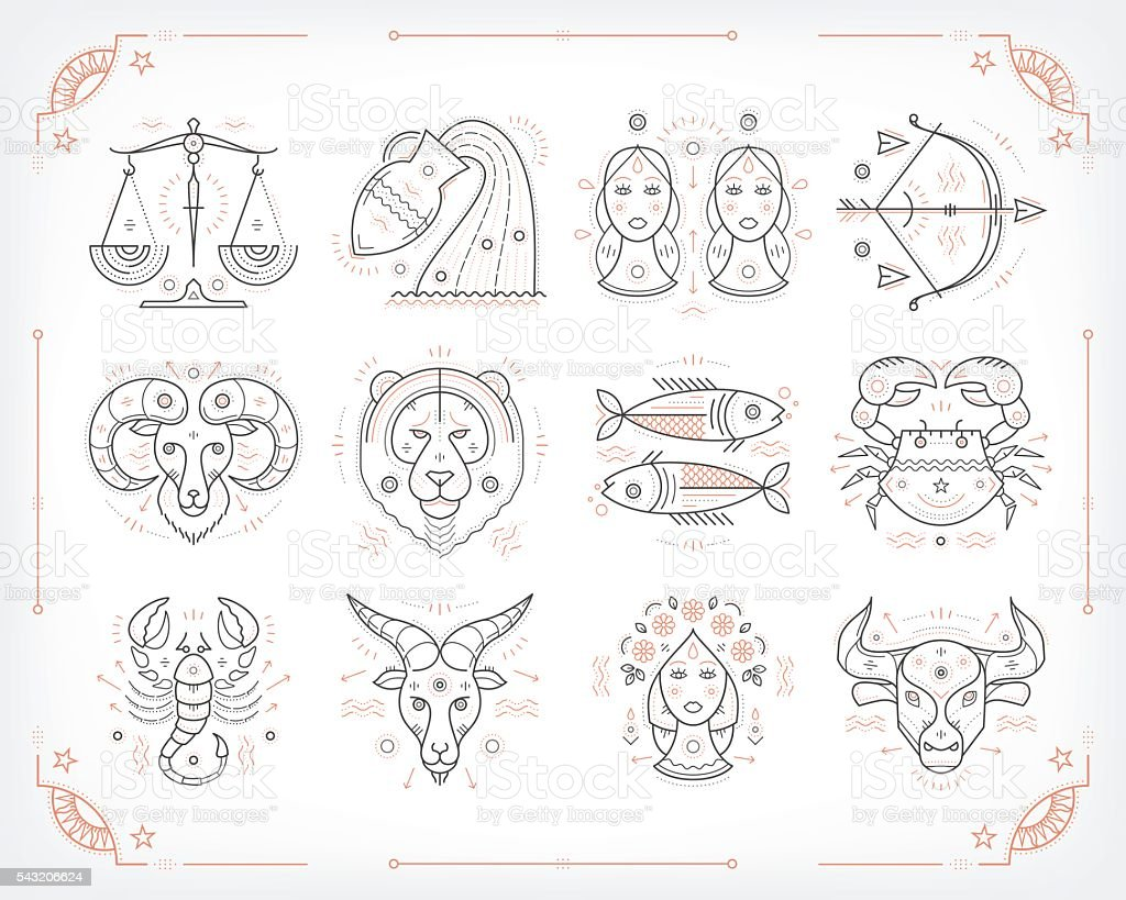 Thin line vector zodiacal symbols. Isolated on white. vector art illustration