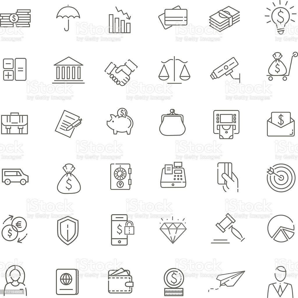Thin line web icon set - money, finance, payments vector art illustration
