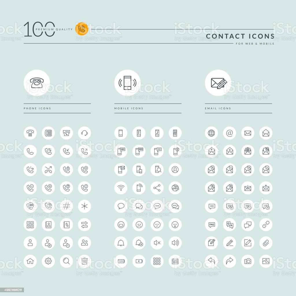 Thin line web icons collection for contact us vector art illustration