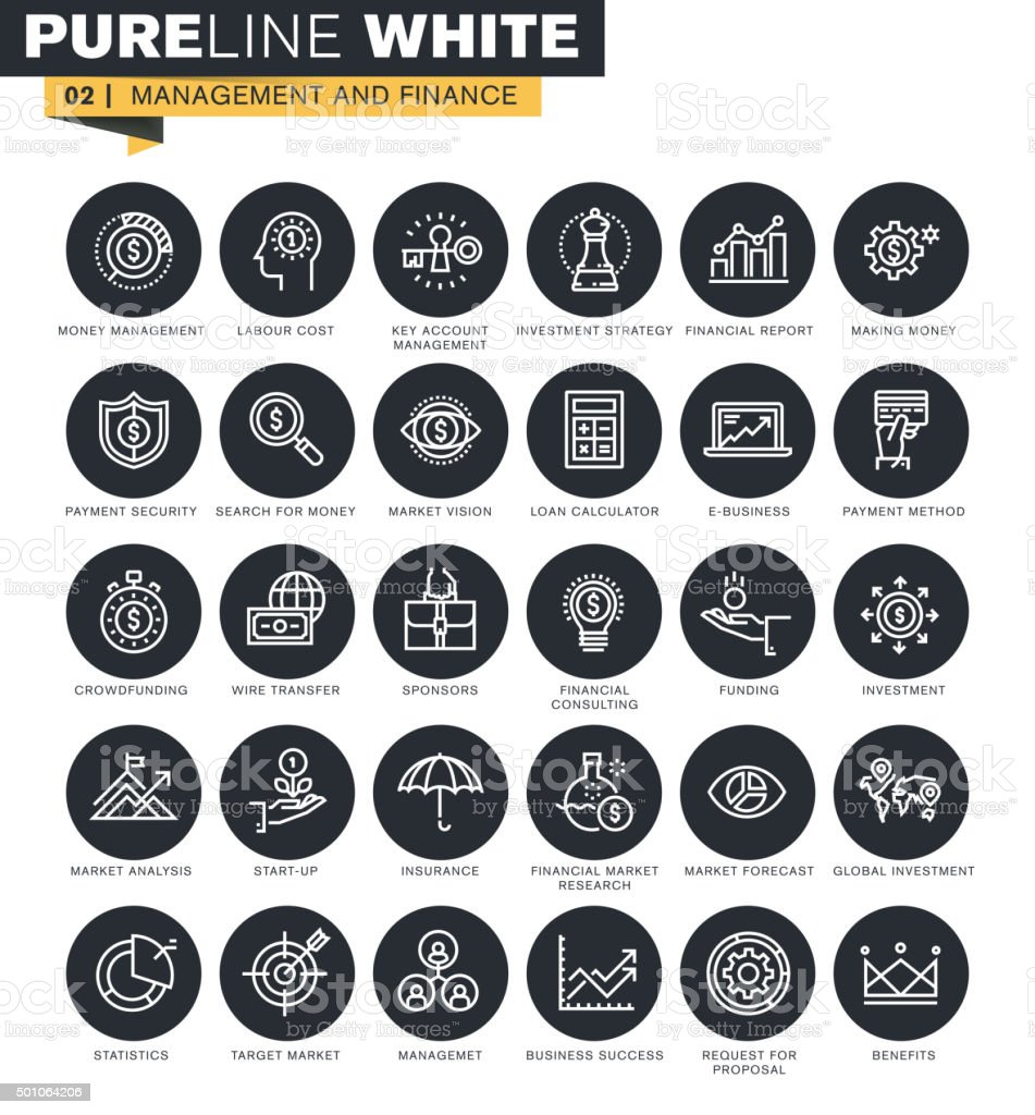 Thin line web icons collection for finance vector art illustration
