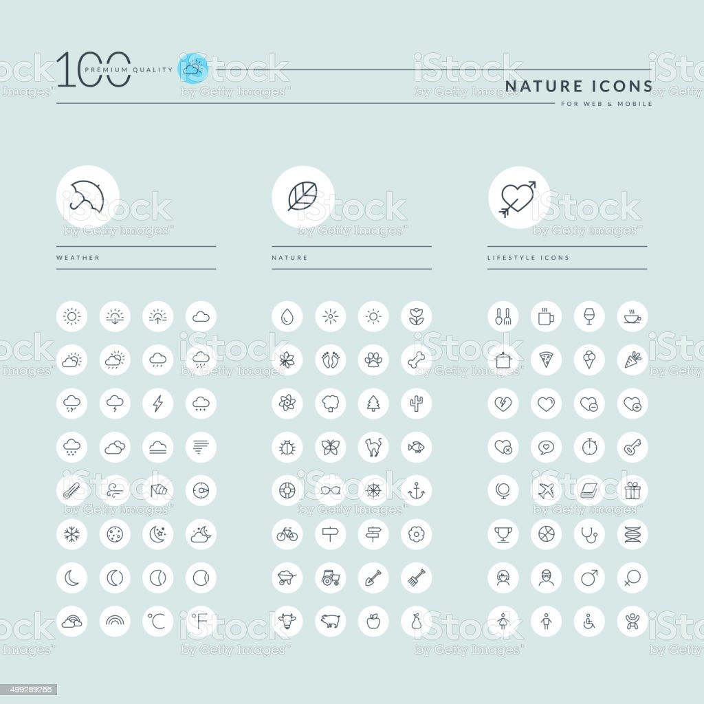 Thin line web icons collection for nature and lifestyle vector art illustration