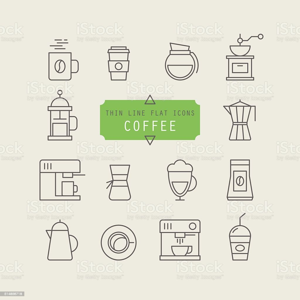 Thin line web icons for coffee vector art illustration