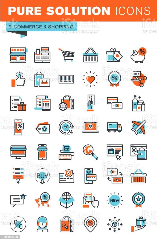Delgado línea Web iconos para e- comercio y de compras illustracion libre de derechos libre de derechos