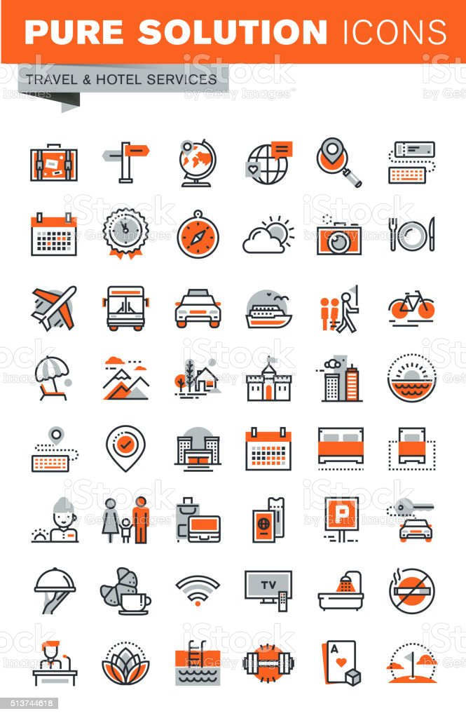 Thin line web icons for hotel services and online booking vector art illustration