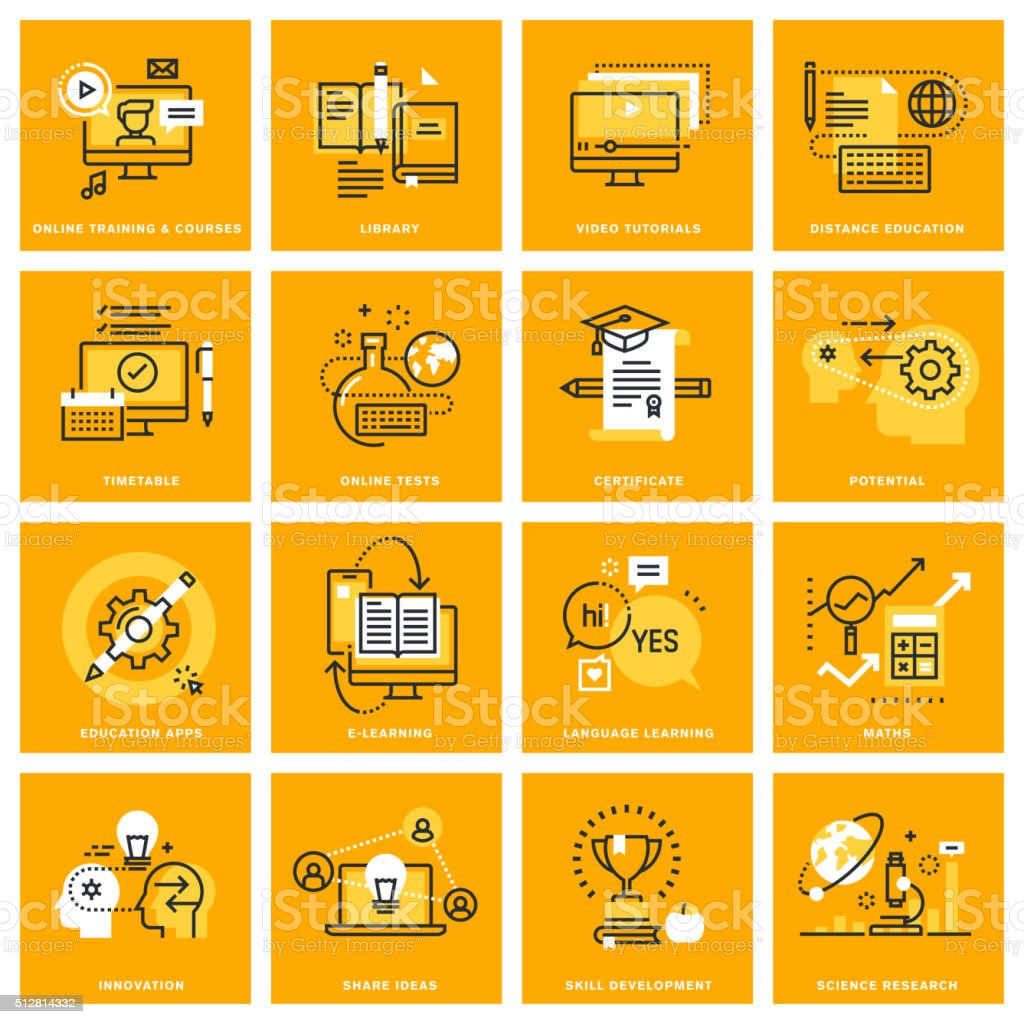 Thin line web icons of e-learning vector art illustration