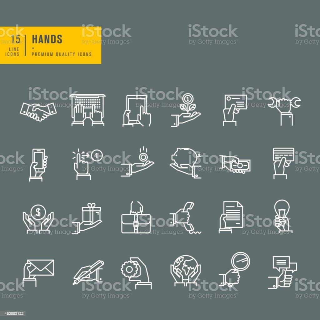 Thin line web iconos de la mano con diferentes productos illustracion libre de derechos libre de derechos