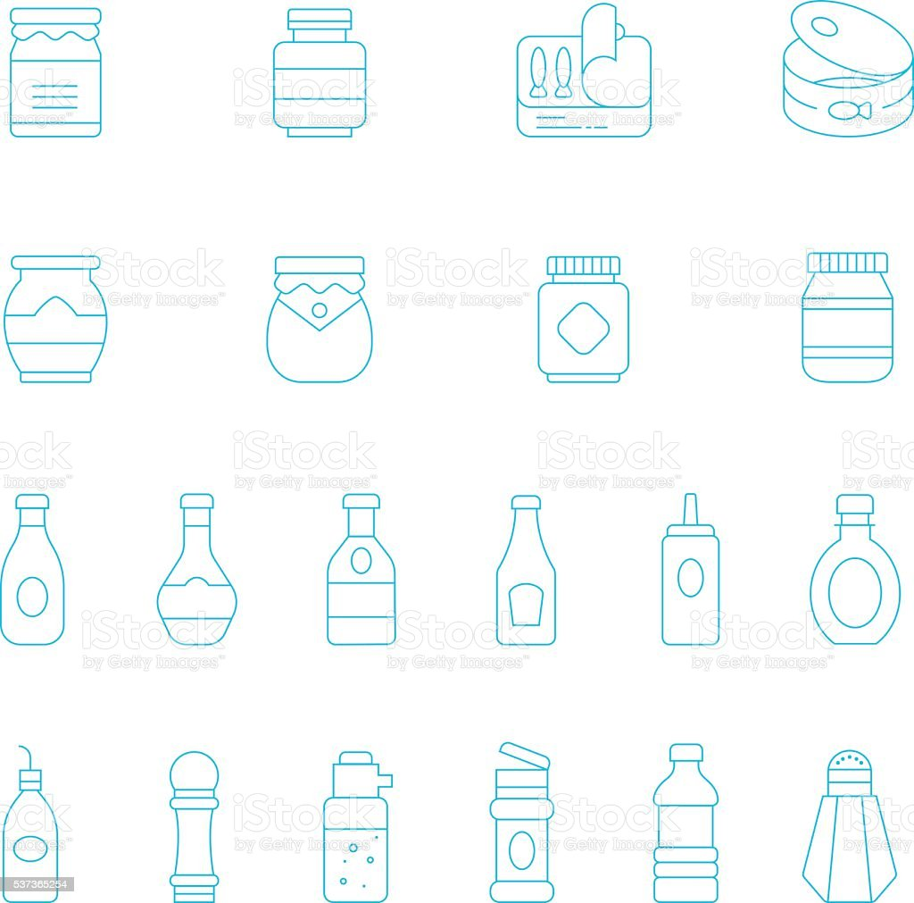 Thin lines icon set - ketchup vector art illustration