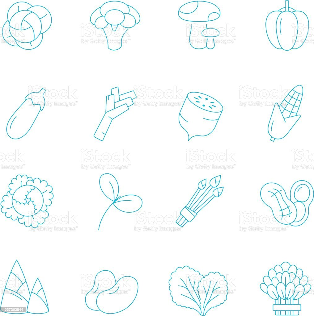 Thin lines icon set - vegetable vector art illustration
