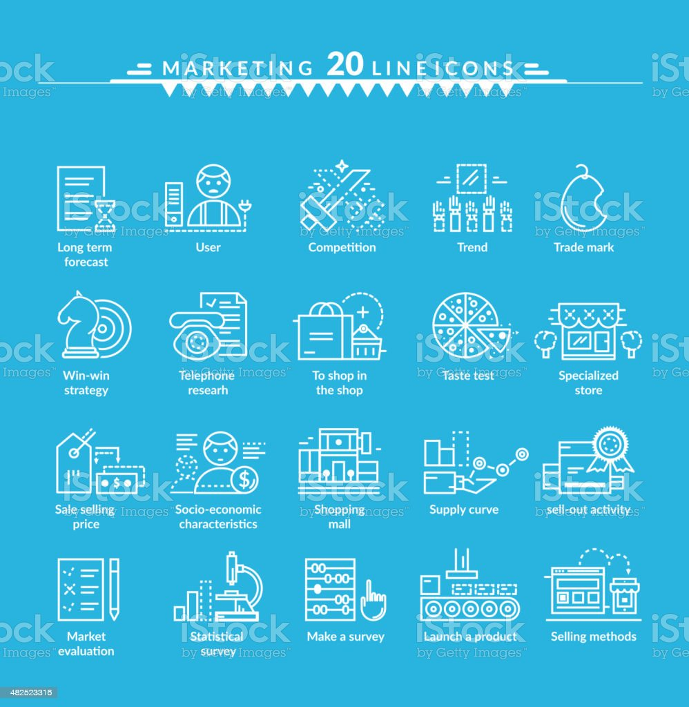 Thin Lines Icons Set of Marketing vector art illustration