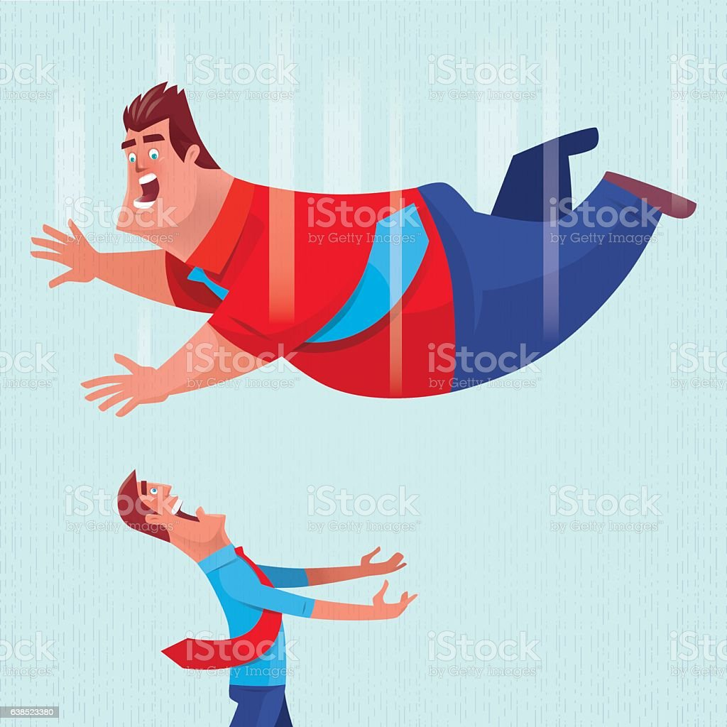 thin man going to hold falling fat man vector art illustration