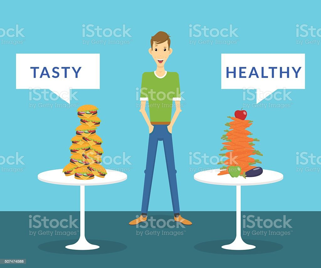 Thin man standing between tasty burgers and healthy carrots choosing vector art illustration