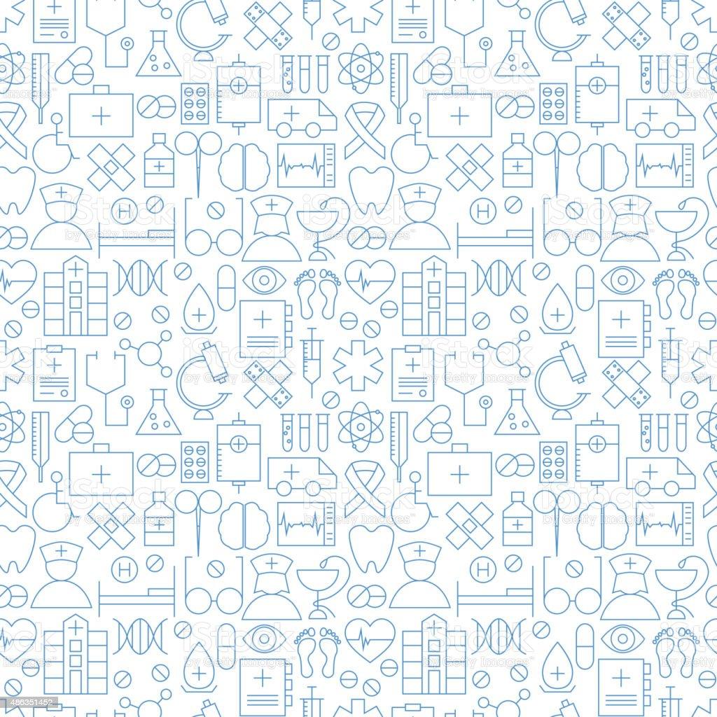 Thin Medical Line Health Care White Seamless Pattern vector art illustration