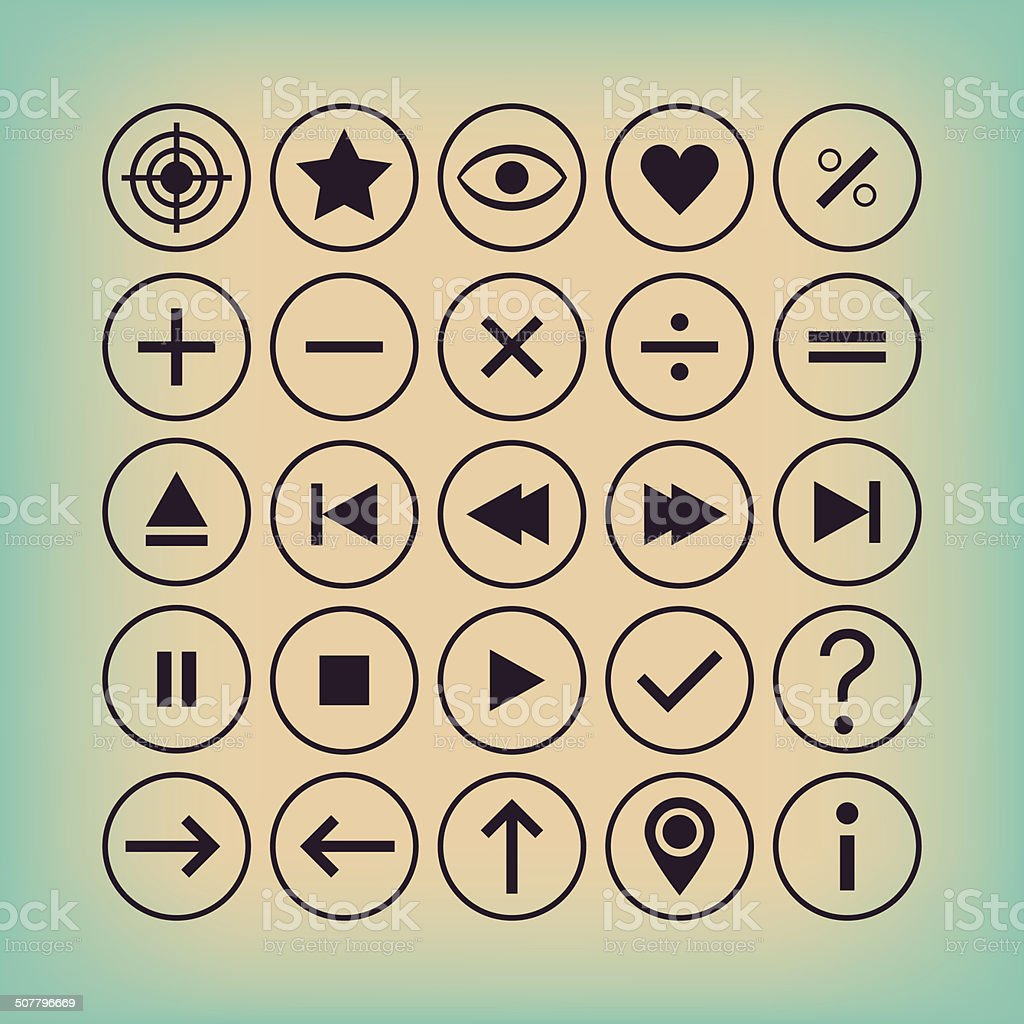 Thin outline controllers, calculation, general symbols, and button icons set vector art illustration