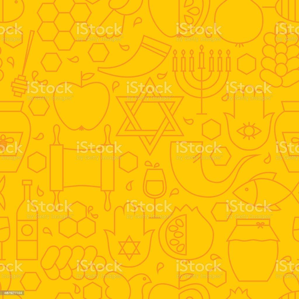 Thin Rosh Hashanah Line Holiday Seamless Yellow Pattern vector art illustration