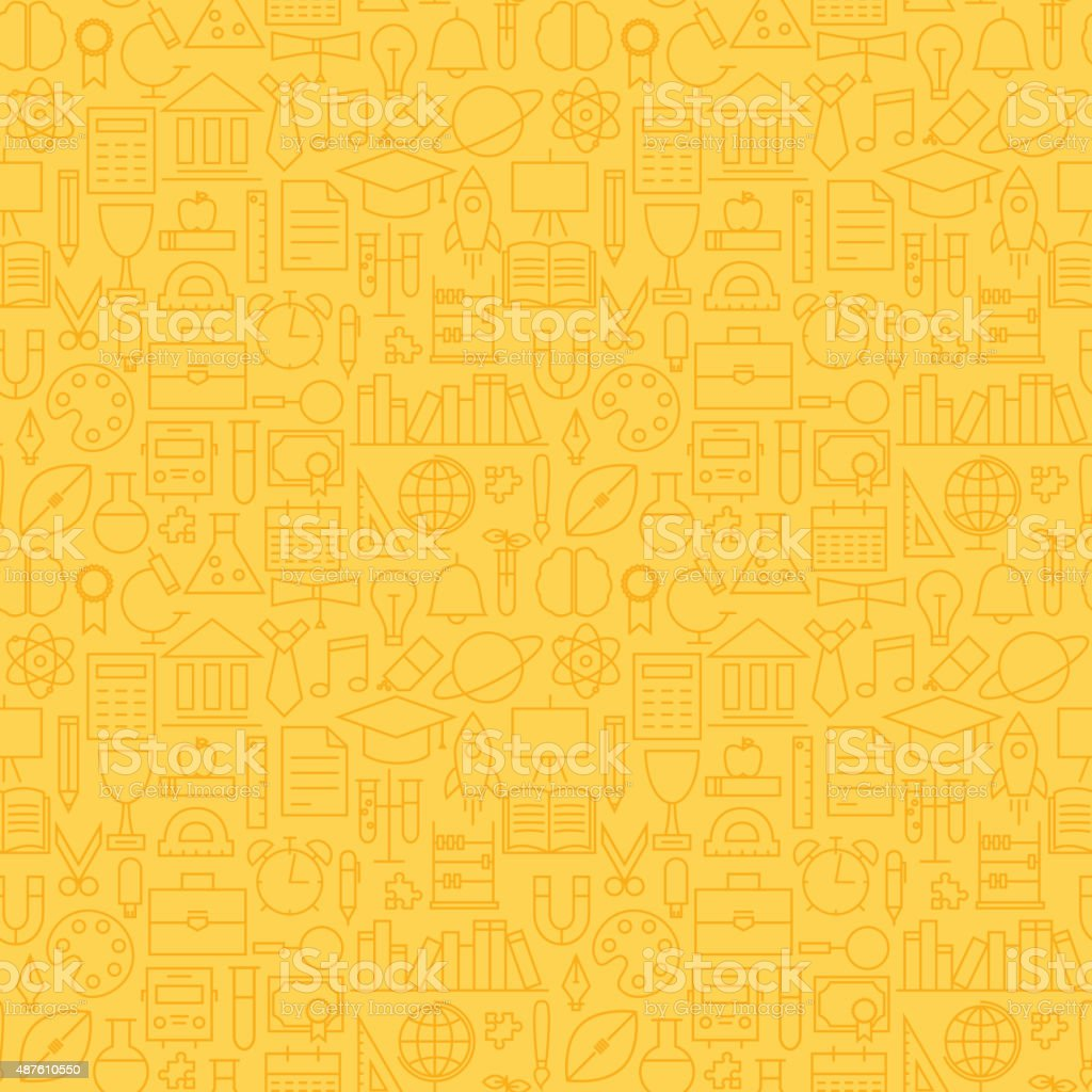 Thin School Line Education Graduation Seamless Yellow Pattern vector art illustration
