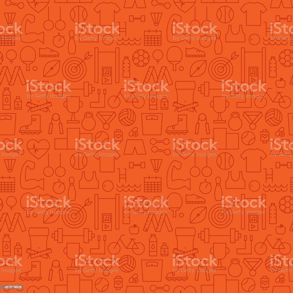 Thin Sport Line Activity Exercise Seamless Orange Pattern vector art illustration