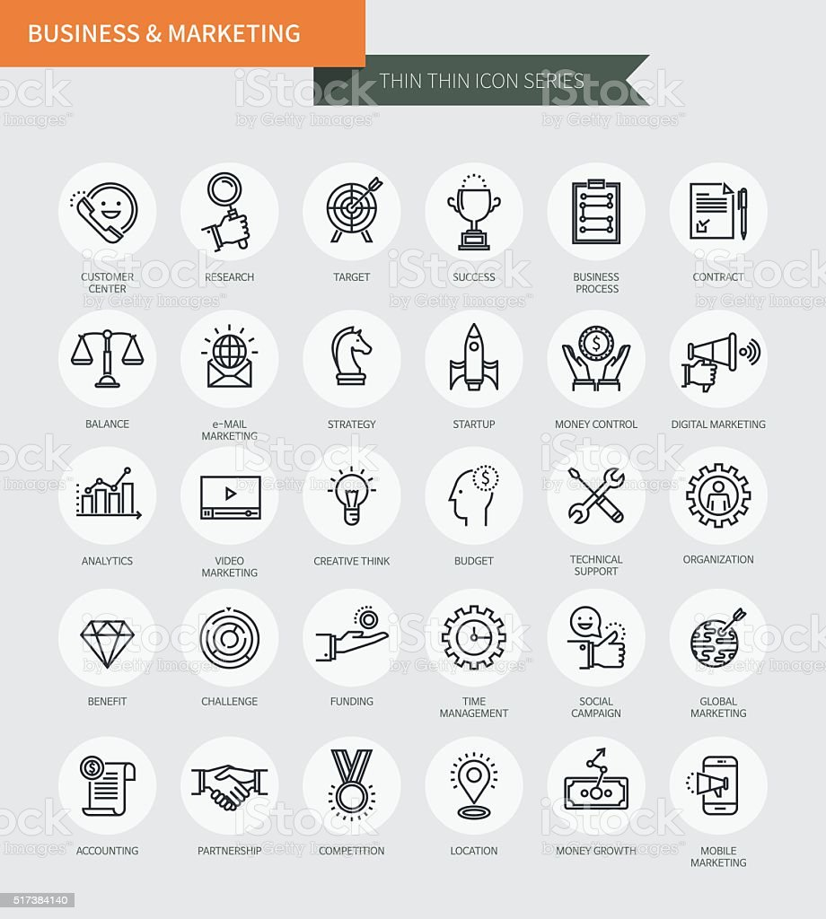 Thin thin line icons set of business & marketing vector art illustration