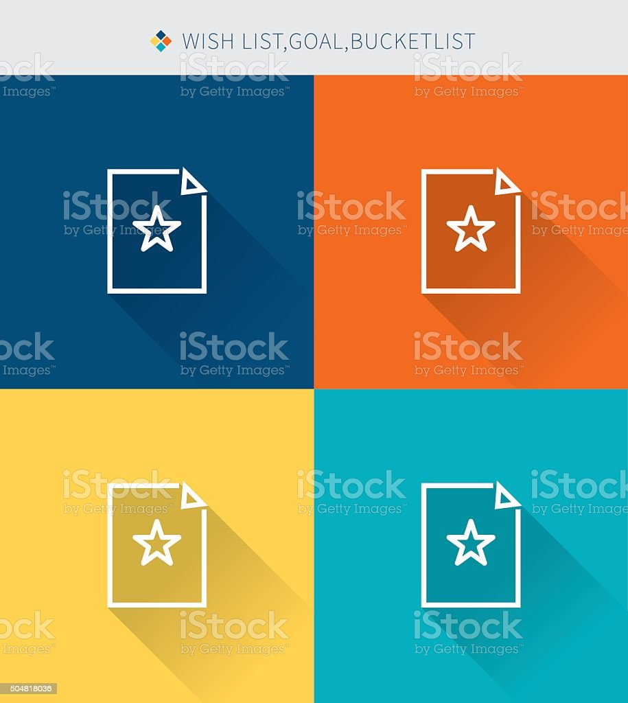 Thin thin line icons set of wishlist & bucketlist vector art illustration