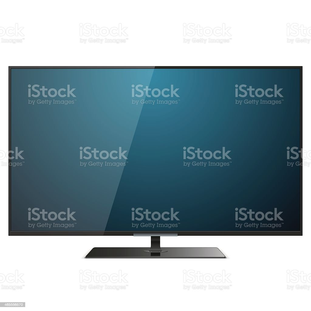 Thin Vector TV icon with blue reflective screen on white vector art illustration