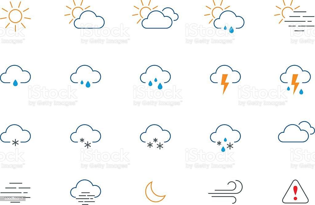 Thin weather colour icon set vector art illustration