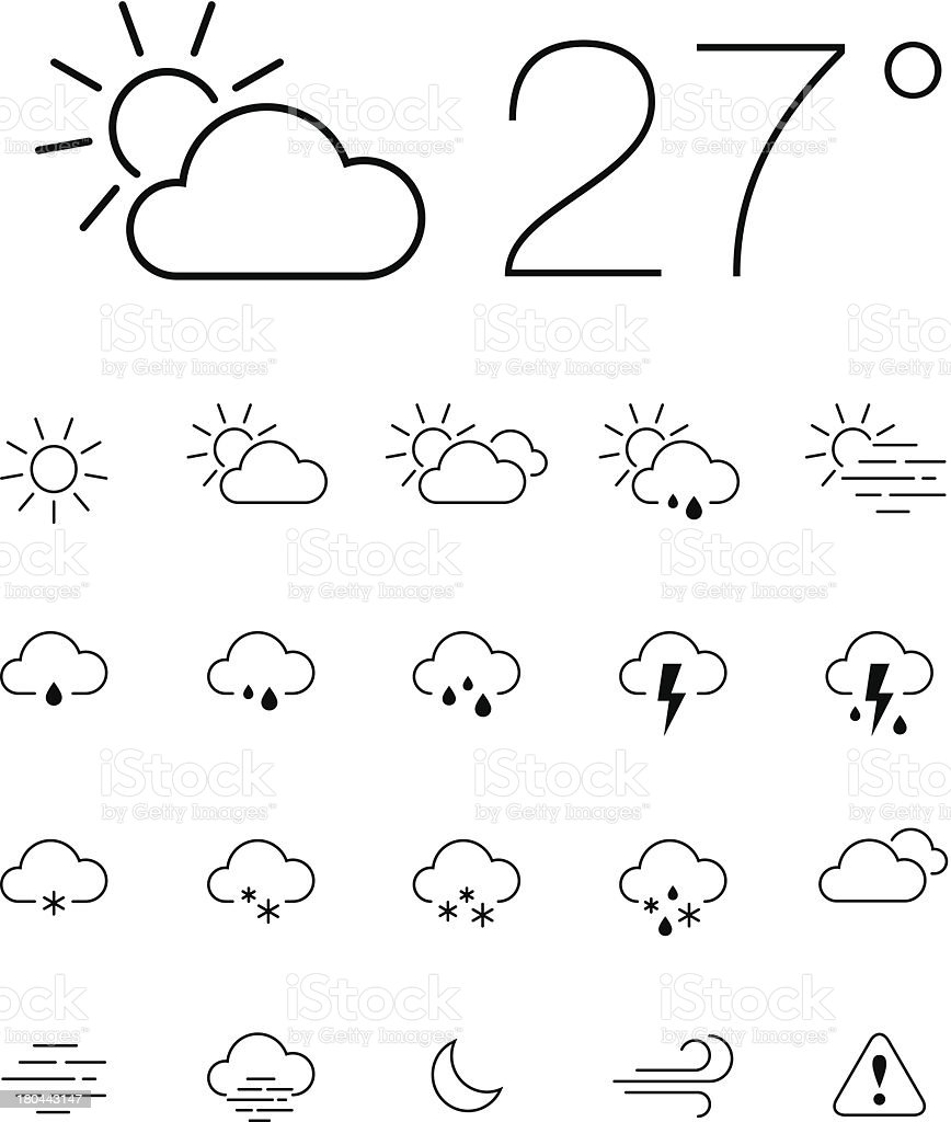 Thin Weather icon set vector art illustration