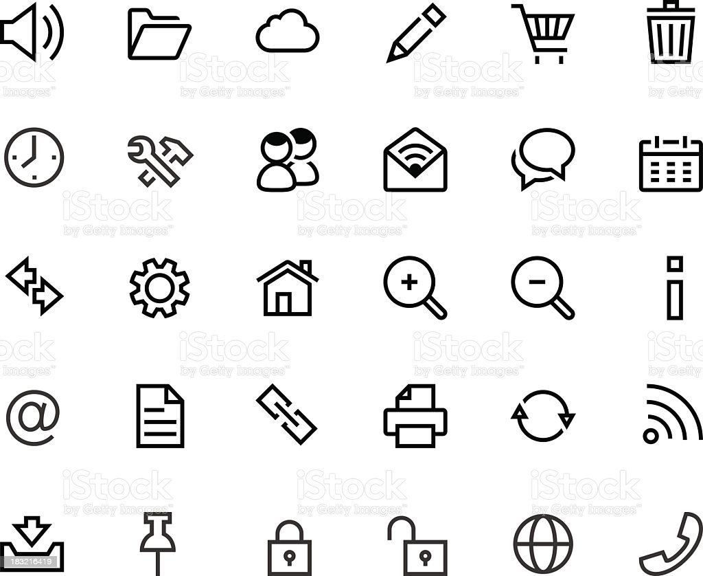 Thin Web Computer icons vector art illustration
