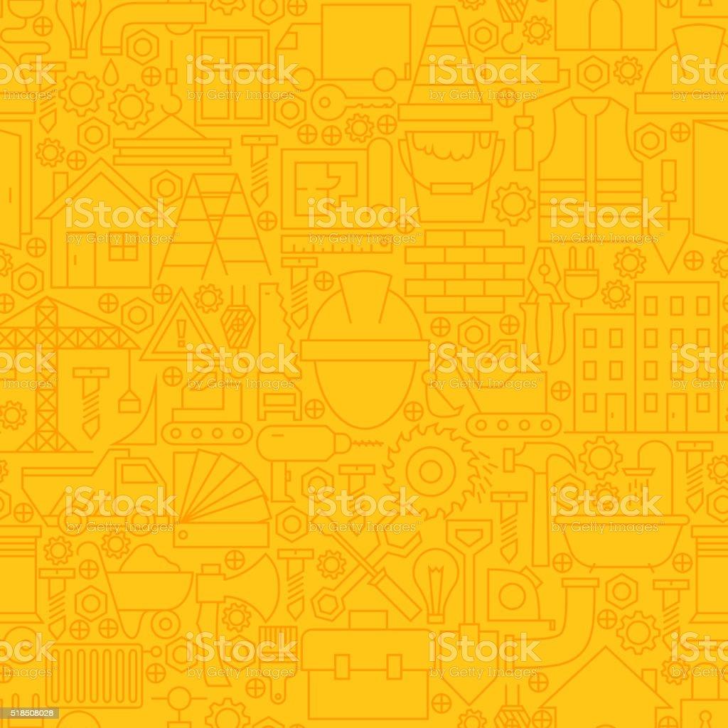 Thin Yellow Construction Line Seamless Pattern vector art illustration
