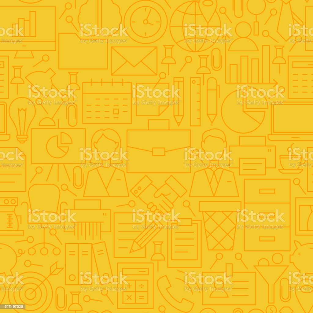 Thin Yellow Office Business Line Seamless Pattern vector art illustration