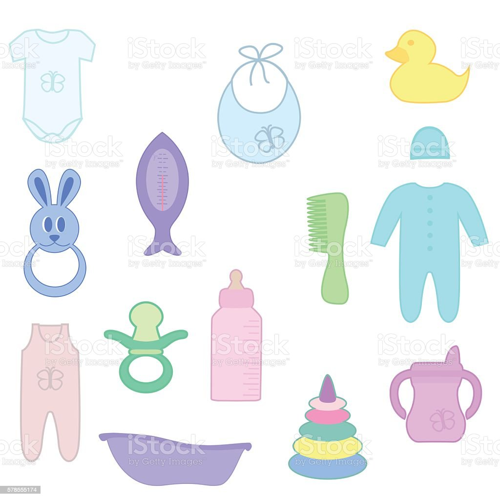 Things for baby vector art illustration