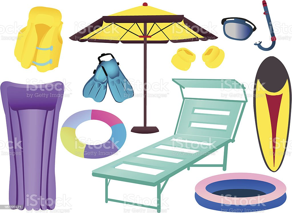 Things for the beach vector art illustration