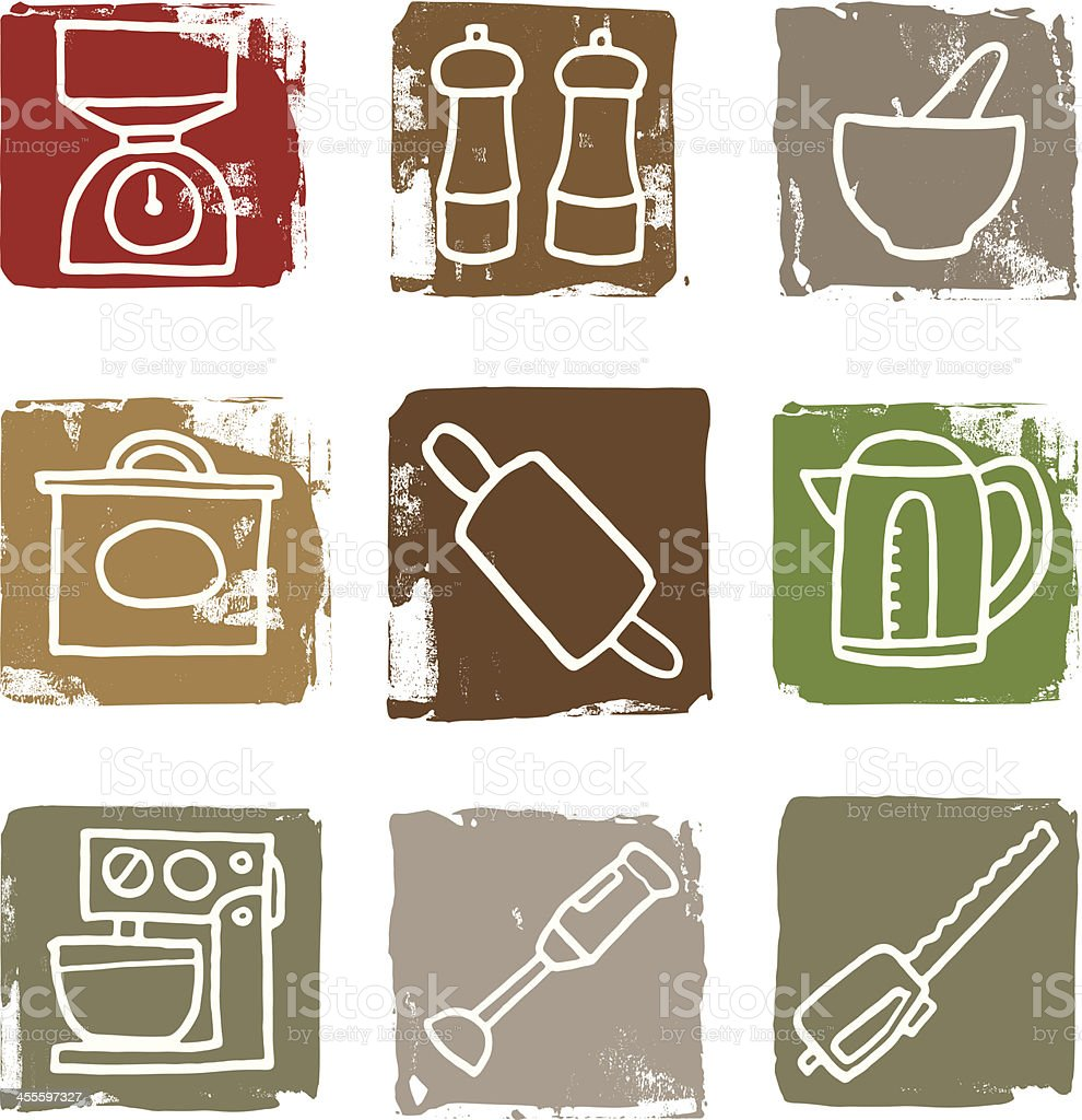 Things in the kitchen icon block set royalty-free stock vector art