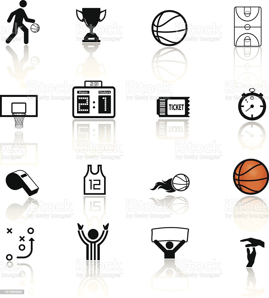 Things related to basketball ball, whistle, timer, ticket vector art illustration