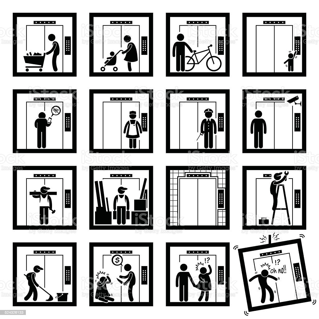 Things that People do inside Elevator Lift Cliparts Illustration vector art illustration