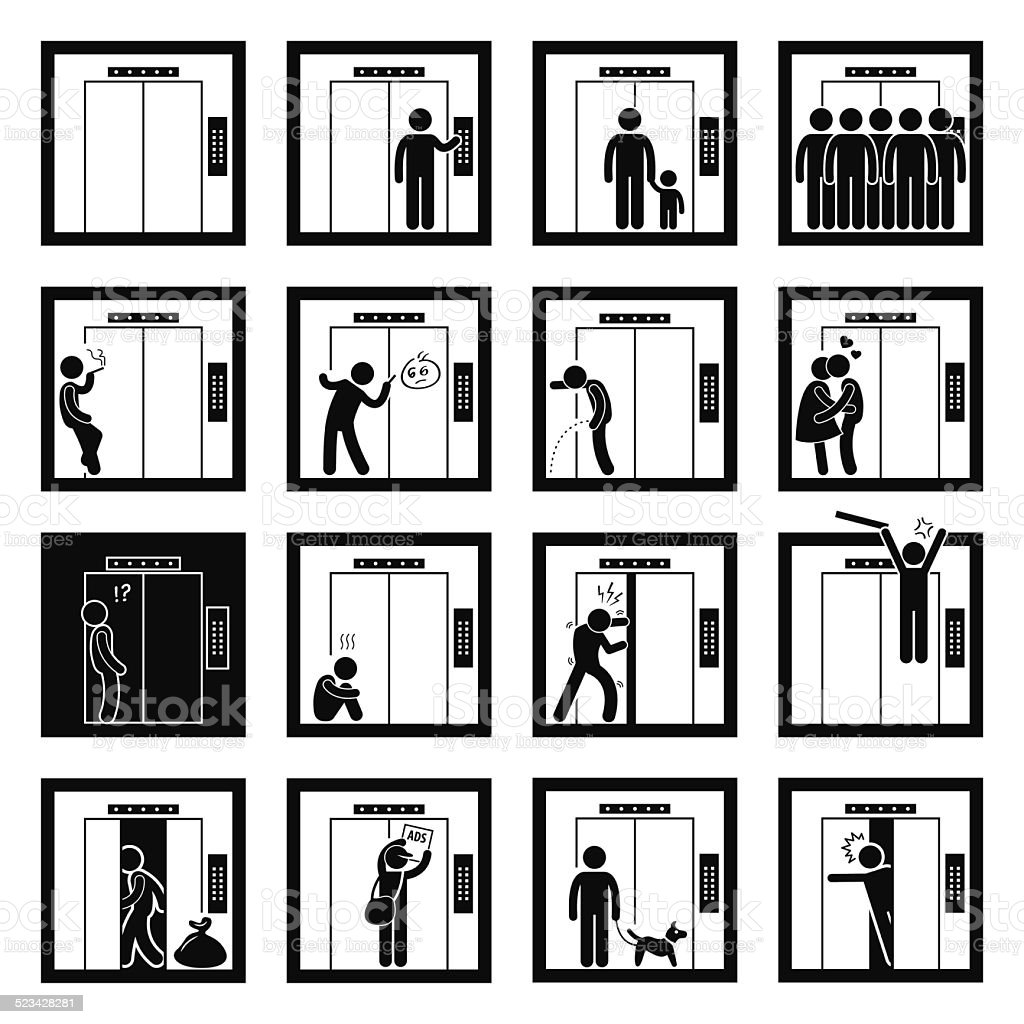 Things that People do inside Elevator Lift vector art illustration