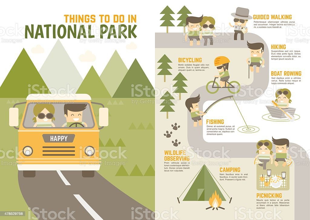 things to do in national park vector art illustration