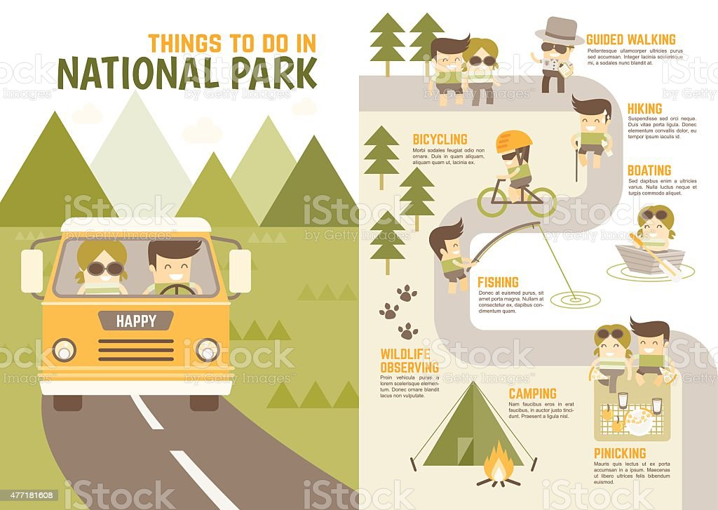 things you enjoy in national park vector art illustration