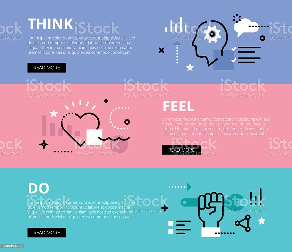 Think. Feel. Do. Web banners vector set vector art illustration