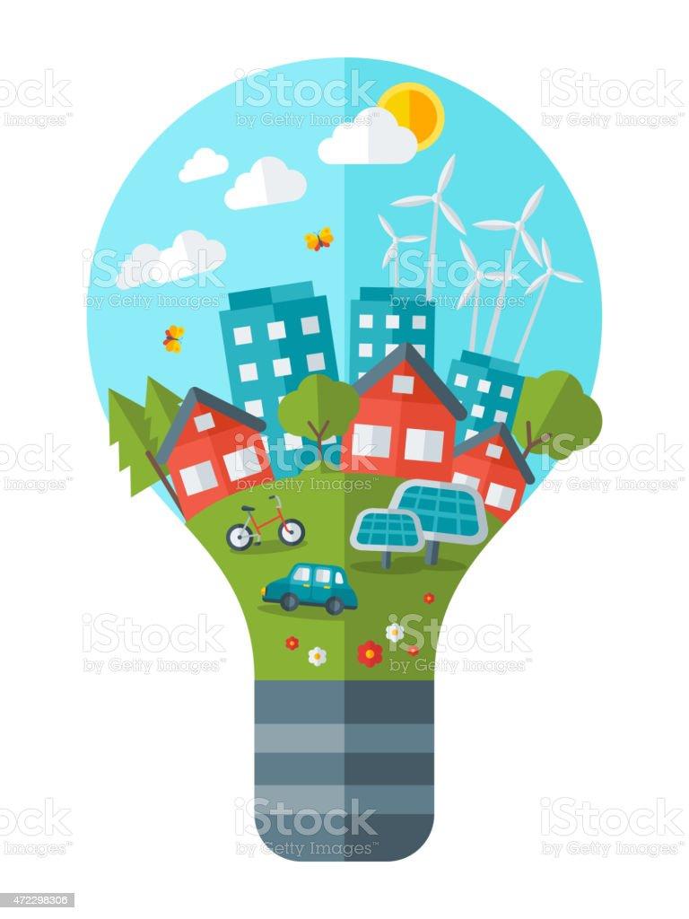 Think green concept vector illustration. vector art illustration
