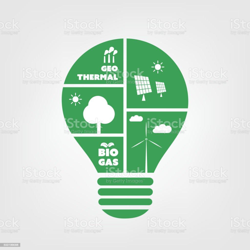 Think Green - Eco Friendly Ideas - Light Bulb vector art illustration