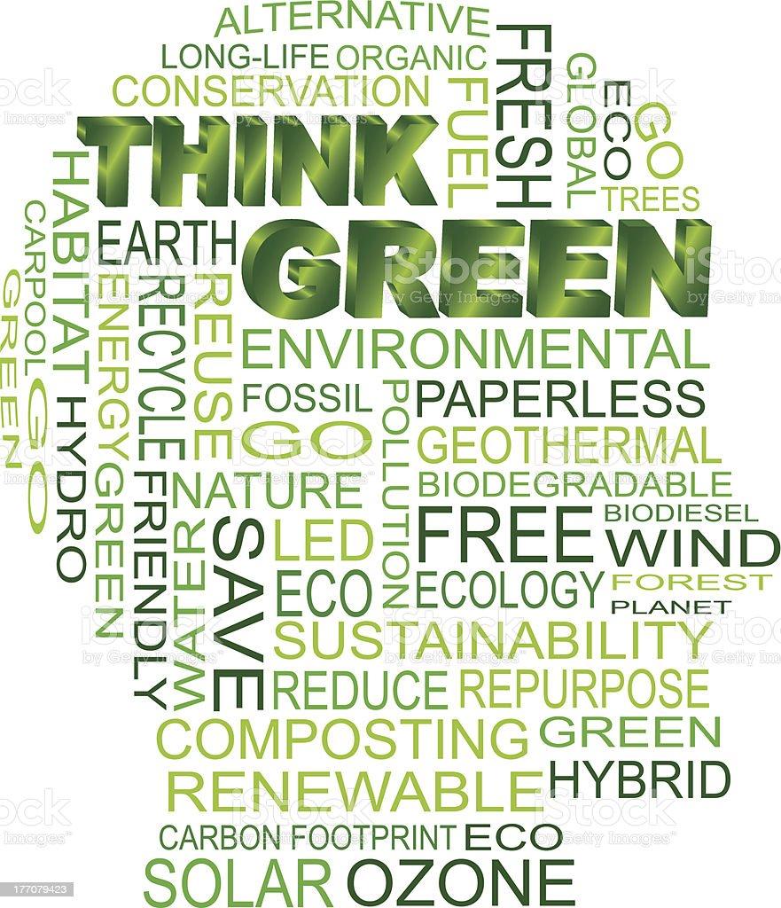 Think Green Eco Human Head Vector Illustration royalty-free stock vector art