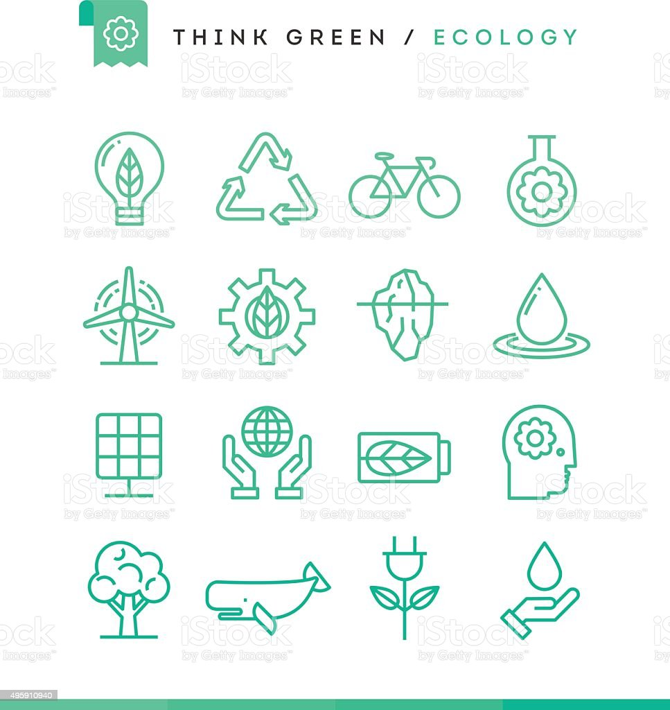 Think green! Set of ecology icons, thin line style vector art illustration