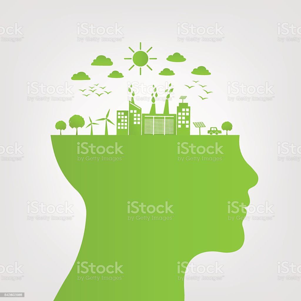 Think green with green city save the world vector art illustration