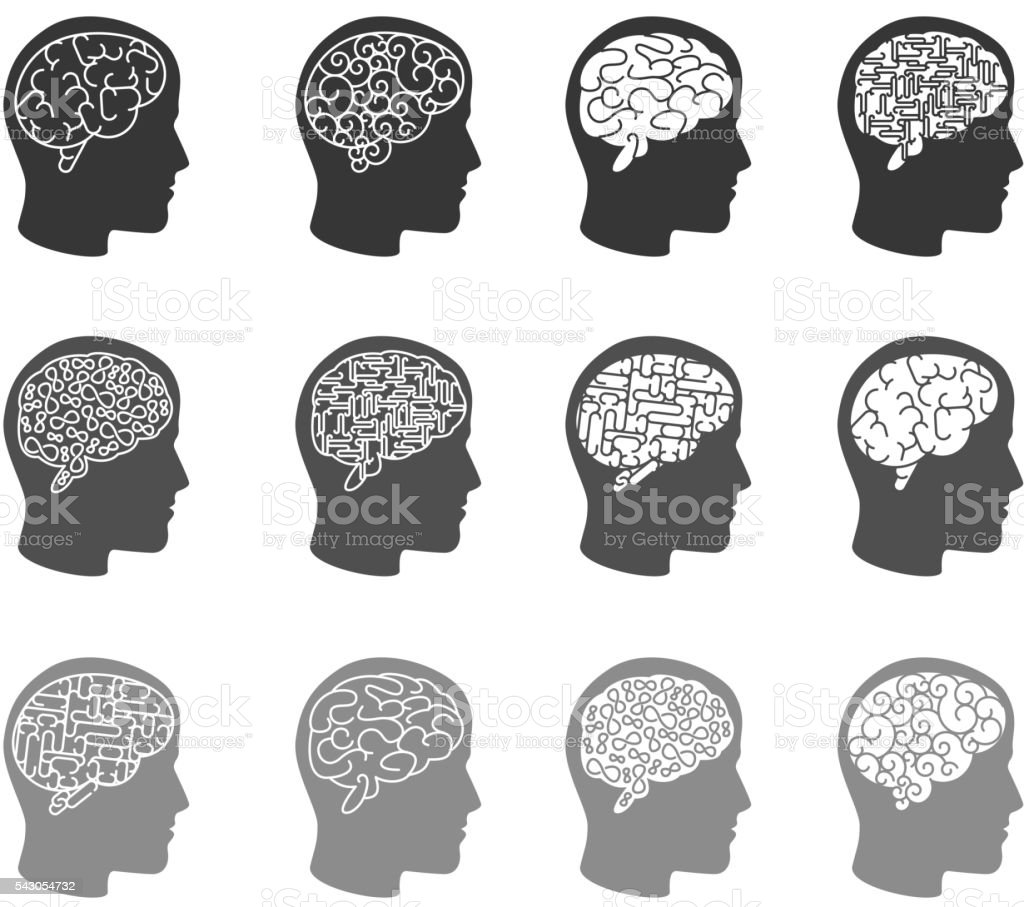 Think icons. Thinking brain in human head icons vector art illustration