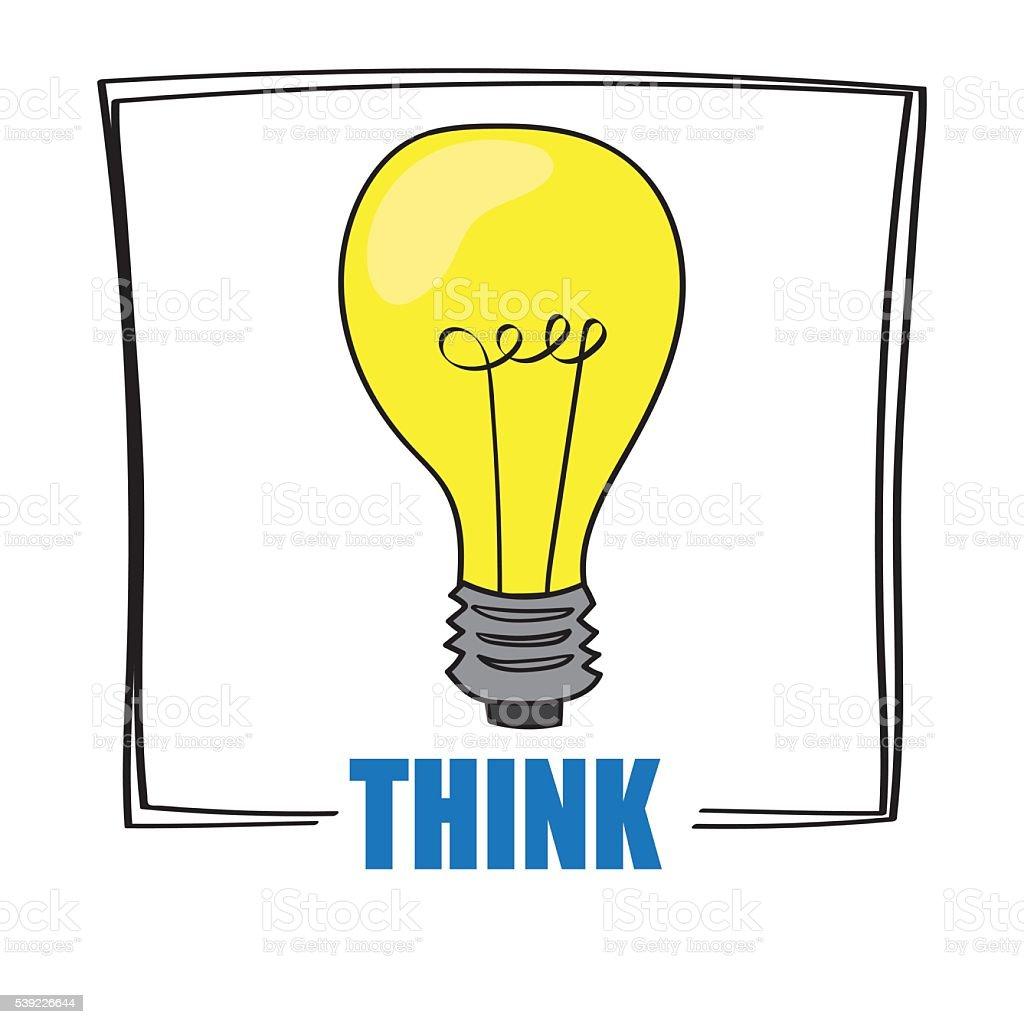 Think Light Bulb vector art illustration