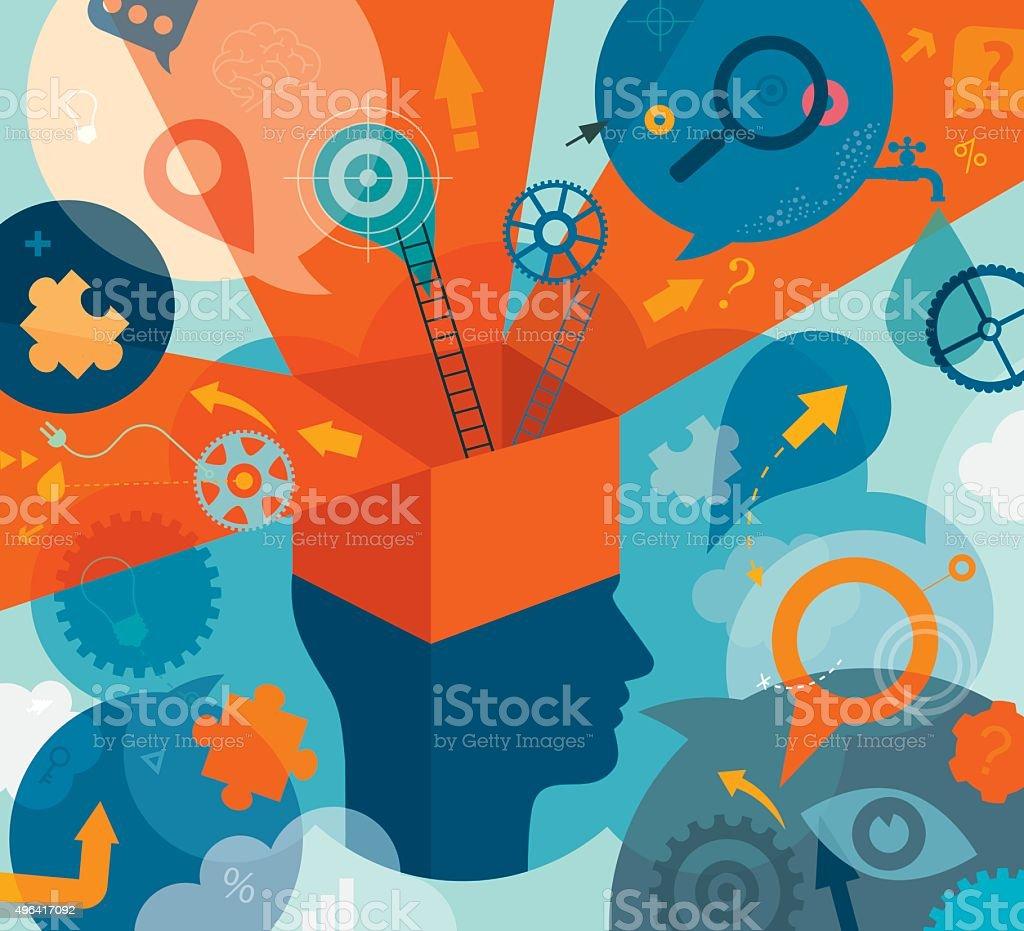 Think Outside Box Concept vector art illustration
