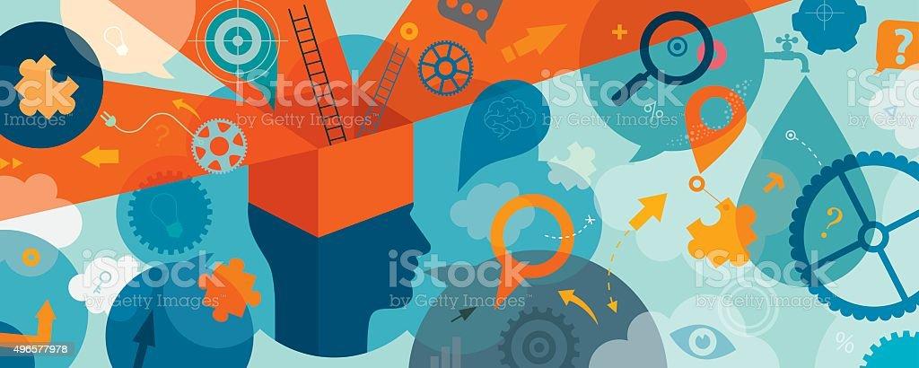 Think Outside Box Horizontal Concept vector art illustration