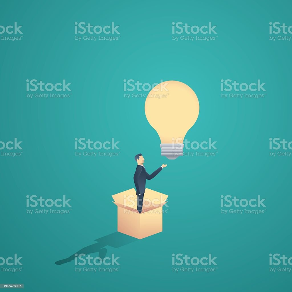 Think outside the box motivational business concept vector. Creativity symbol vector art illustration