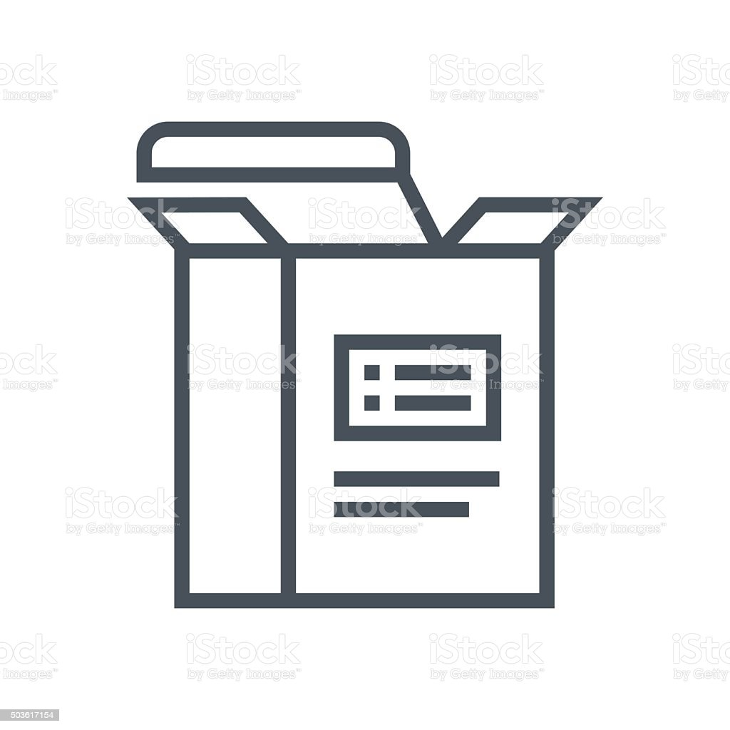 Think outside the box, package icon vector art illustration