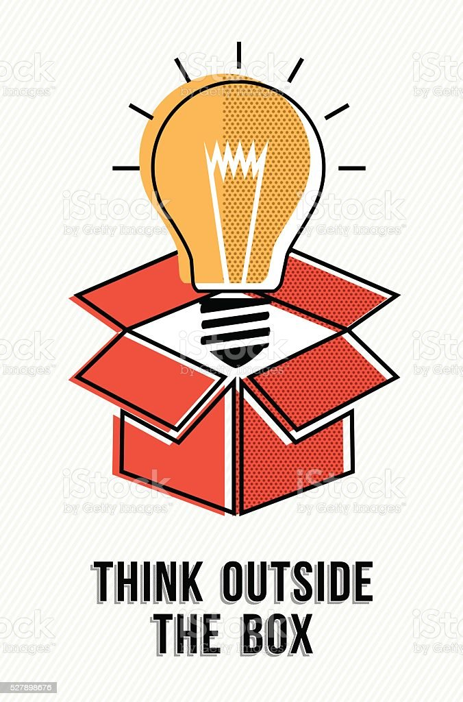 Think outside the box powerful ideas concept vector art illustration